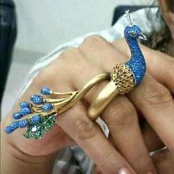 Natural Rosecut Diamond Sapphire Emerald Peacock Antique Engagement Ring Jewelry