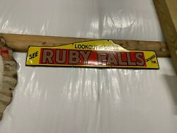 Porcelain Ruby Falls Chatanooga Tennessee Advertising Sign Rare Rock City Lookou