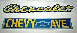Chevrolet And Chevy Ave Steel Tin Signs - 24 Inches Open Road Brands