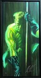 Alex Ross Rare Aquaman Shadows Giclee Canvas Sold Out Signed Sdcc 2016 Framed