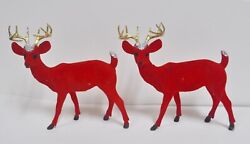 Pair Of Vintage Mid Century Red Flocked Reindeer With Glitter And Gold Antlers