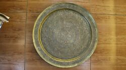 Antique Rare Museum Plate Islamic Brass And Silver Inlaid Inlay Tray Mamluk 1960
