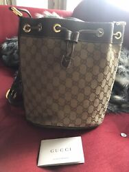 Vintage Authentic GUCCI Monogram Brown Canvas Cross Bag $449.00