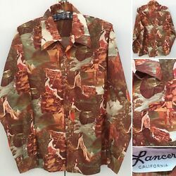 Vintage Lancer California Native American Indian All Over Print Shirt 70s 1970s