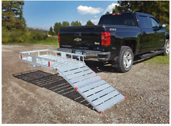 Hitch Cargo Carrier With Folding Ramp Aluminum Haul Small Tools Mowers Vehicle