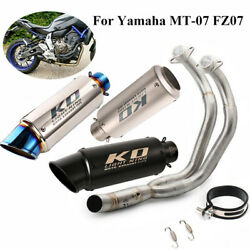 Motorcycle Exhaust Tips Header Front Link Pipe 51mm Mufflers Or Yamaha Mt07 Fz07