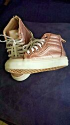 Vans Off The Wall Girl#x27;s Pink Sparkle HighTop Shoes Size 11