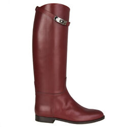 56240 Auth Hermes Rouge H Burgundy Box Leather Jumping Boots Shoes 40.5