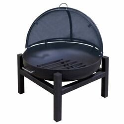 36 Round Fire Pit With Square 4 Leg Base, Cs Pivot Screen And Grate