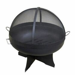 36 Round Fire Pit With Standard X Base, Hybrid Dome Screen And Grate
