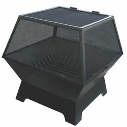 30 X 24 Rectangular Fire Pit W/carbon Steel Hinged Screen And Grate