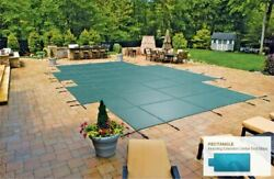 Inground Mesh Safety Cover For 14and039 X 28and039 Pool With 4and039 X 6and039 Center End
