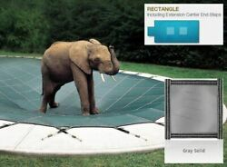 Looploc Solid Gray Cover For 16 X 32 Pool, Mesh Drain Panels, 4 X 6 Center End