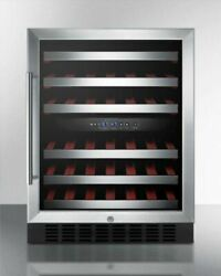 Summit Swc530blbist 24and039and039 Wide Built-in Wine Cellar - Glass Black