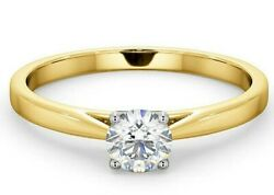 Certificated Diamond Solitaire Engagement Ring 18k Gold 0.50ct Large Sizes R - Z