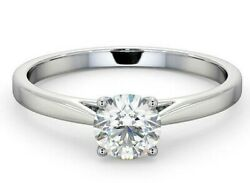 Certificated Diamond Solitaire Ring 18k White Gold 0.70ct Large Sizes R - Z