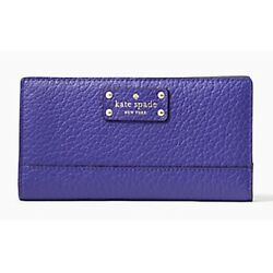 Kate Spade Stacy Bay Street Bifold Leather Wallet Purple color Bajablue NWT $28.95