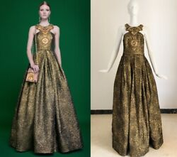 New Womens Andrew Gn Beaded Embroidered Gold Brocade Dress Fr44 Us12 Uk16 Large