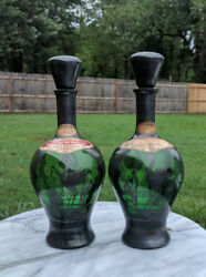 2 Vintage 11' Green Glass Wine Bottles Sterling Silver W/ Labels And Stopper