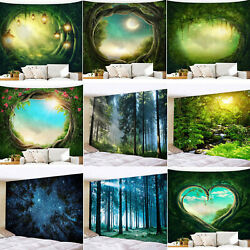 3D Natural Forest View Fairy Wall Hanging Tapestry Bedspread Home Room Art Decor $18.04