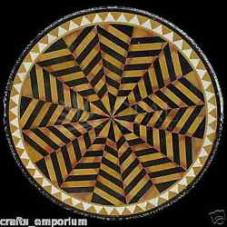 24 Black Marble Coffee Center Table Top Mosaic Marquetry Inlay Hallway Decor