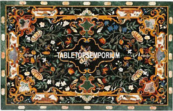 4'x3' Green Dining Marble Table Top Marquetry Mosaic Stone Inlay Garden Decor