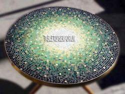 42'' Marble Side Coffee Dining Table Top Malachite Mosaic Stone Inlay Decorative