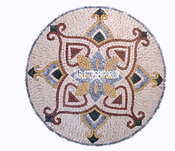 36 Round Marble Dining Table Top Collectible Handmade Inlay Stone Outdoor Decor