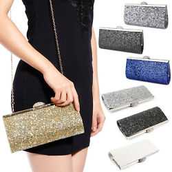 Lady Crystal Clasp Sparkle Glittered Clutch Bag Striking Bridal Prom Party Purse $16.99