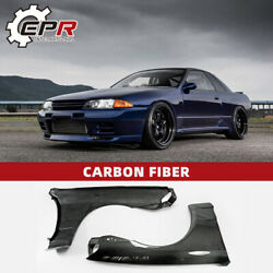Oe Style Carbon Fiber Front Fender Flares Mudguard Glossy Kit For Nissan R32 Gtr