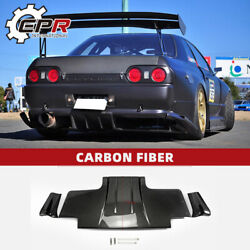 For Nissan R32 Gtr Carbon Ts-style Type 2 Rear Diffuser W/ Metal Fitting Parts