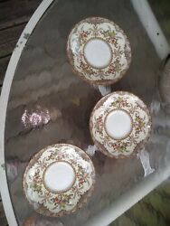 Chatham Green Ivory China Saucers Set Of 3 By Minton Floral Pattern Very Rare...