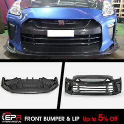 Carbon Fiber + Frp Ts Style Front Bumper And Front Lip Kit For My17 Nissan R35 Gtr
