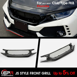 Carbon Fiber For Honda 2017+ Civic Fk8 Typ R Js Style Front Grill Meshe Grille