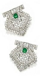 Double Clip 925 Sterling Silver Art Deco Style Open Work Green Round Cz Brooch