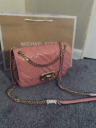 Michael Kors Pink Glossy Crossbody Gold Chain Shoulder Hand Bag With Gift Bag $230.00