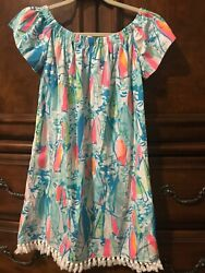 LN Lilly Pulitzer Marble Beach And Bae Sunglow Sailboat Off Shoulder Dress S $39.99