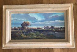 Original Donald A Peters Vintage Oil Western Scene Wagon Train 'a New Day'