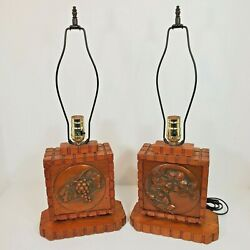 Vintage Table Lamps Copper Oak Albert Gilles Lamp Pair Arts And Crafts Lot Of 2