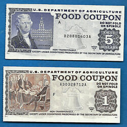 Food Stamp Coupon M/c F 1978 A 5.00 And 1998 A Usda Two Notes