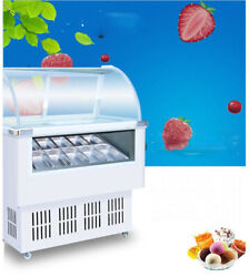 12 Pan Hard Ice Cream Dipping Cabinet Freezer Display Cabinet 220v With Wheels