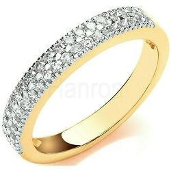Certificated Diamond Eternity Ring Two Row Band 18k Yellow Gold Large Sizes R-z