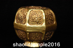 5.2 Old Chinese Antique Gold Plated Copper Flower Pattern Jewelry Box