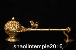11.6 Rare Chinese Gold Plated Copper Mythical Animals Small Incense Burner