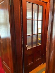 """Vintage Solid Wood Inside Door And Glass Panels Glass Knob 32""""x80"""" Front Room"""