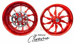 Stock Size Solid Candy Red Tornado Wheels 2009-2014 Yamaha Yzf R1