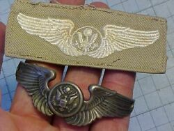 Original Wwii Usaaf Cloth Aircrew Wings And Silver Bracelet Wings