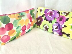 🌼 NEW Lot 2 Clinique Makeup Cosmetic Purse Case Bag pink yellow multi color 🌼 $4.99