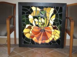 Lowell Nesbitt Iris In Full Bloom Framed Stained Glass 1980 Signed And Numbered