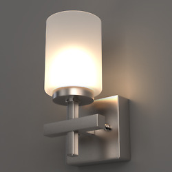 Brushed Nickel Bathroom Vanity Light With Opal Glass Shades,4000k Cool White,